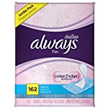 always regular panty liners - Always Thin Dailies Wrapped Liners, Unscented, 162 Count