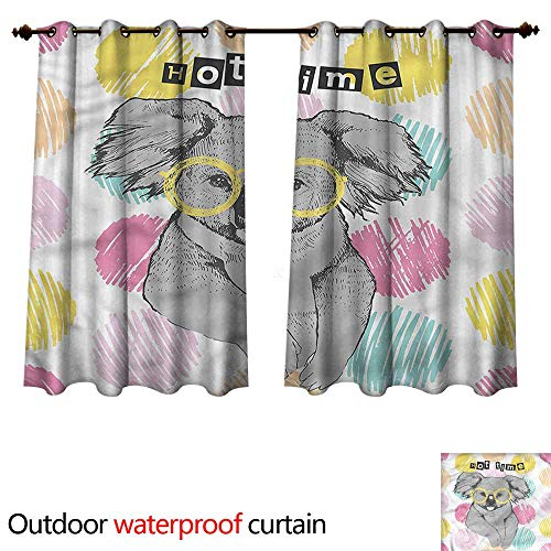 - cobeDecor Koala Outdoor Ultraviolet Protective Curtains Hipster Bear with Glasses W72 x L63(183cm x 160cm)