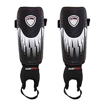 Soccer Shin Guards by DashSport - Best Youth Soccer Equipment with Ankle Sleeves - Great for Kids, both Boys and Girls