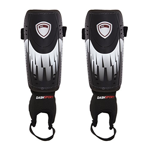 Soccer Shin Guards by DashSport - Best Youth Soccer Equipment with Ankle Sleeves - Great for Kids, both Boys and
