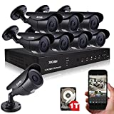 ZOSI Outdoor 900TVL Surveillance Camera System 8CH Video DVR with 8 Day/Night High Resolution Weatherproof CCTV Security Cameras with 1TB Hard Drive