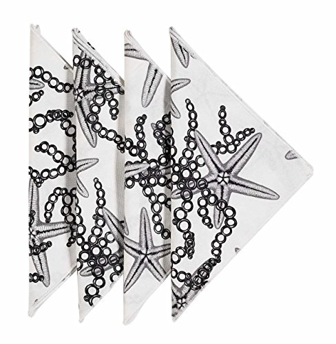 Cloth Napkins Linen Napkins Dinner Napkins Party Black and White Starfish 18 x 18 Pk 12 by Decorative Things