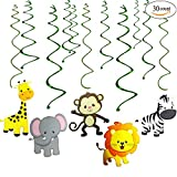 GuassLee Jungle Animals Party Swirl Decorations - 30 Pack Hanging Swirl for Animals Party Supplies animal theme birthday party decorations, Multicolor