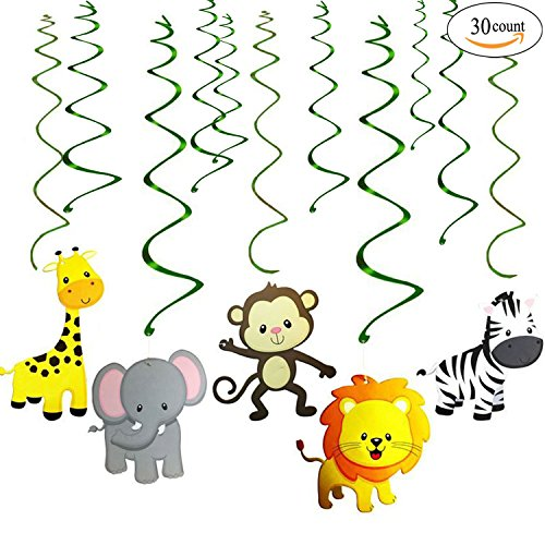 Jungle Animals Party Swirl Decorations - 30 Pack Hanging Swirl for Animals Party Supplies animal theme birthday party decorations, Multicolor (Jungle Themed Balloons)