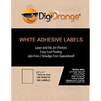 DigiOrange Premium Full Sheet Labels 100 White Laser & Inkjet Labels (100 labels)