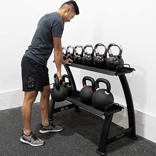 Valor Fitness BG-23 2-Tier Kettlebell Rack to Easily Rack, Store, and Organize Kettle Bells