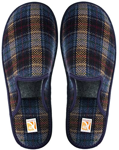Bosaco Mens Slippers Men House Shoes Memory Sole Home Mule Blue Old Britisch f57GCD85