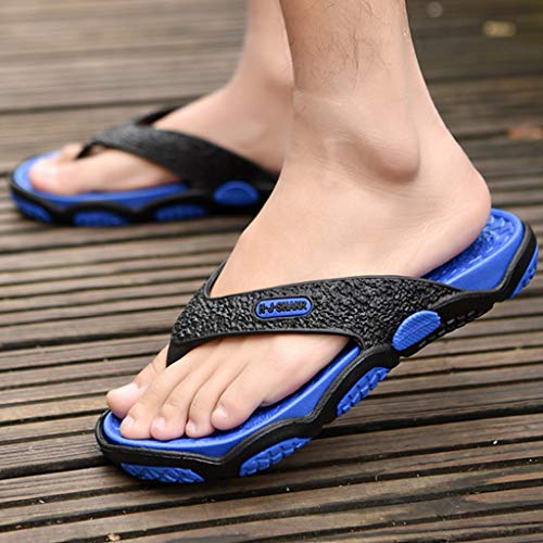 KESEELY Summer Men's Open Toe Slippers Fashion Beach Shoes Massage Bathroom Round Head Flip Flops Beach Casual Slippers Blue by KESEELY (Image #1)