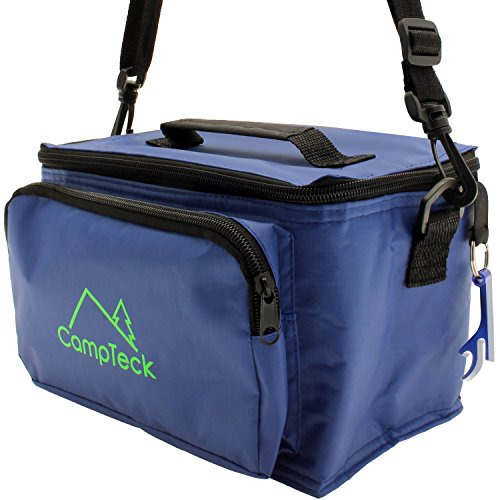CampTeck Compact & Lightweight Water Resistant 3.5L Leak-Proof Blue Cool Box Bag with Front Pocket, Carry Handle, Shoulder Strap & Bottle Opener