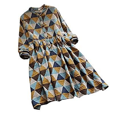 Ashir Aley Cute Linen Yellow Geometric Printed Long Sleeves Casual Style Checked Shirt Dress