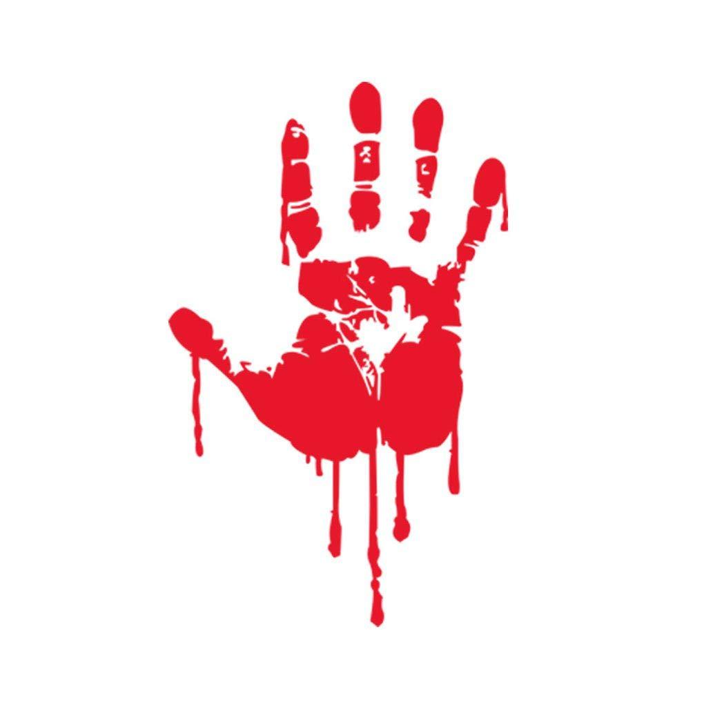 F-blue Halloween Wallpaper mano sanguinante rimovibile Wall Sticker Tattoo Bar Finestra Horror decalcomanie della casa decorativo