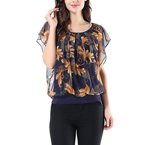 AVTOSRNO Womens Printed Flouncing Flared Short Sleeve Pleated Front Mesh Blouse Top Shirt ()