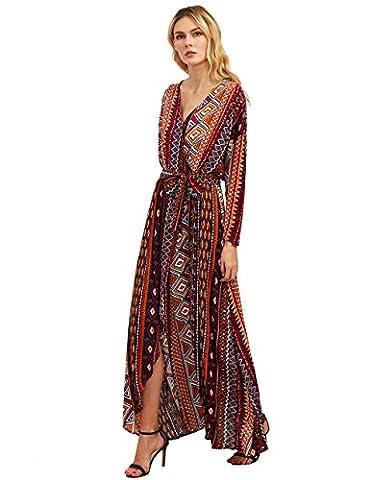 ROMWE Women's Bohemian Long Sleeve V neck Split Long Wrap Maxi Dress Orange L