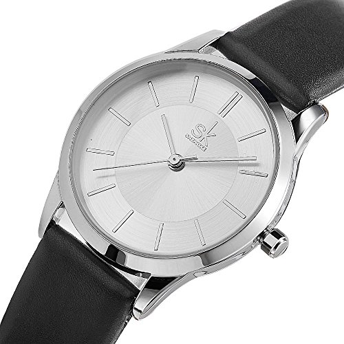 Female Watches Leather Strap Round Case Analog Fashion Women Watch Ladies Wristwatch Relogio Feminino (8037 White Black)
