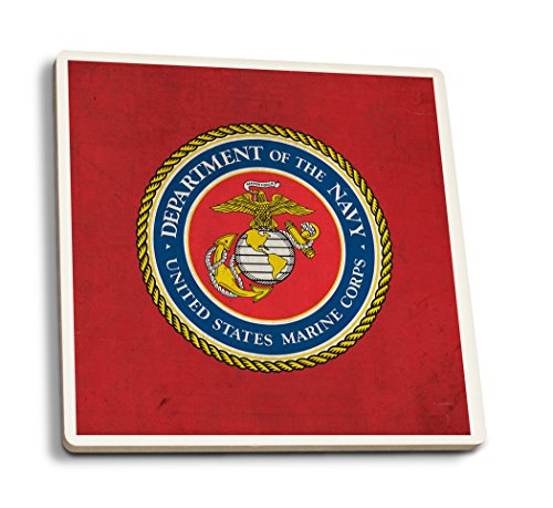Lantern Press Department of The Marine Corps - Military - Insignia (Set of 4 Ceramic Coasters - Cork-Backed, Absorbent)