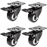 "GoodKE 4 Pack 2"" Polyurethane PU Rubber Base 360 Degree Swivel Caster wheels with Top Plate and Brake Bearing Heavy Duty 600 lbs Total Capacity (US Stock, Black)"