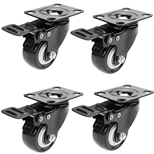 "Little World Caster Wheels Heavy Duty Polyurethane 2"" Locking Swivel Casters Replacement Bearing 110lb Each with 360 Degree Top Plate Black (4 Pack with Brake)"