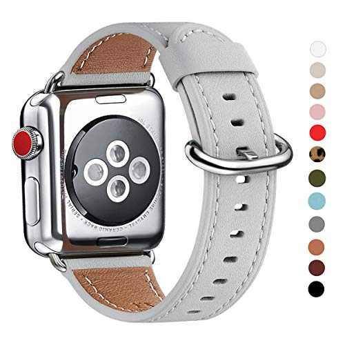 WFEAGL Compatible iWatch Band 38mm 40mm 42mm 44mm, Top Grain Leather Bands of Many Colors for iWatch Series 5,Series 4,Series 3,Series 2,Series 1(Light Gray Band+Silver Adapter, 38mm 40mm)