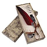 Feather Quill Pen Set, Dip Pen with Nibs and Ink Bottle(Not Ink) 5 Nibs Calligraphy Pen in Gift Box (Red)