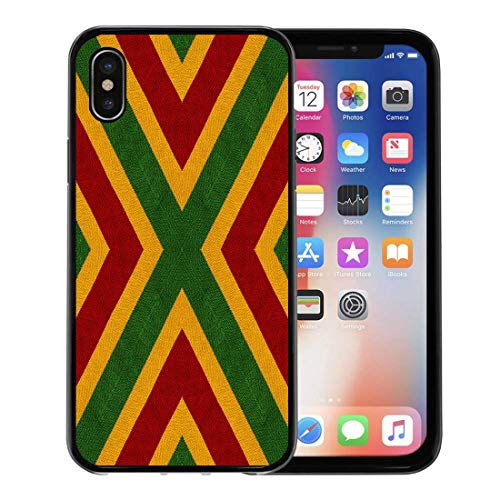 Semtomn Phone Case for Apple iPhone Xs case,Reggae Colors Flag Crochet Knitted Top View Collage Mirror Reflection Kaleidoscope Montage for Plaid for iPhone X Case,Rubber Border Protective ()