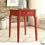 Transitional Bold Accent Single-drawer Side Table in Rubberwood and Birch Veneer (Red)
