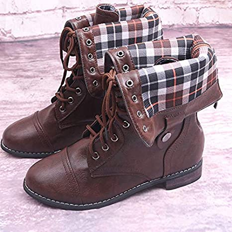 1165440bed55 Amazon.com  Genuine Leather Streetwear Platform Lace Up Boots High ...