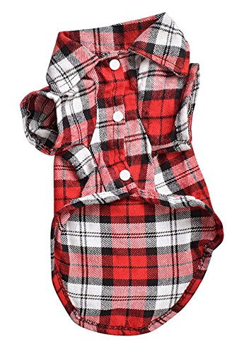 Bleu Costume (BleuMoo Pet Dog Puppy Plaid T Shirt Lapel Coat Cat Jacket Clothes Costume (L, Red))