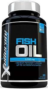 Aceite de Pescado Omega 1000 mg- 365 cápsulas softgel - Fabricado en el Reino Unido - Suplemento de Alta Potencia Aceite de Pescado Omega 3 - Omega 3 6 9 Triple Fuerza EPA y DHA