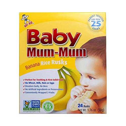 (Hot-Kid Baby Mum-Mum Rice Rusks, Banana, 24 Pieces (Pack of 6) Gluten Free, Allergen Free, Non-GMO, Rice Teether Cookie for Teething Infants)