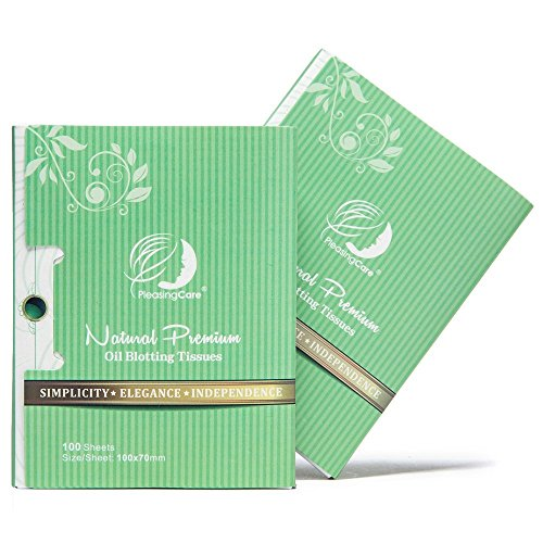 Natural Green Tea Oil Absorbing Tissues - 200 Counts in 2 Pack, Premium Face Oil Blotting Paper - Take 1 Piece Each Time Design - Large 10CM Oil Absorbing Sheets, No Waste and Easy to Carry in Pocket!