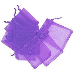 """LEFVâ""""¢ Organza Bags Sheer Drawstring Pouches Jewelry Wedding Party Christmas Favor Gift Bag, 4inch x 5.5inch, Pack of 50(Purple)"""