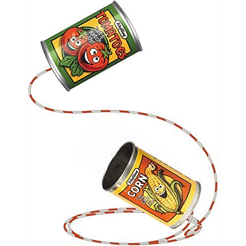 Tin Can Phone - Vintage Style w/ Bold Food Graphics Connected Durable String (Can String)