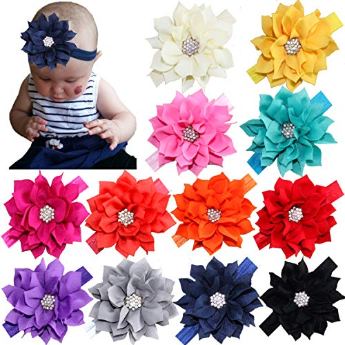 (12Pcs Baby Headbands Flower Hairbands Hair Bows with Rhinestones for Baby Girls Toddlers Infant Newborns)