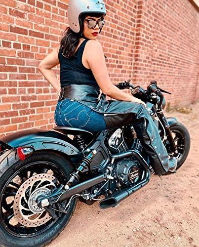 BLACK, WAIST 42 ALPHA CYCLE GEAR MOTORCYCLE CHAPS PLAIN BIKERS RIDING PANTS ASSLESS COWBOY VINTAGE CHAPS BLACK