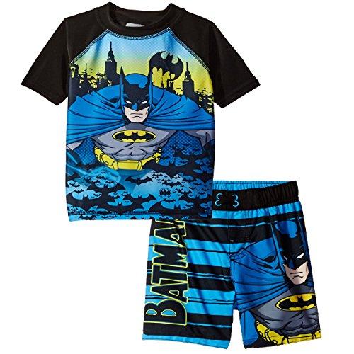 Batman Boys Swim Trunks and Rash Guard Set (3T, Batman Black/Blue) (Superhero Spandex Suits)