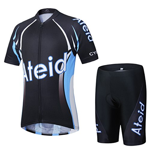 Ateid Children Boys' Girls' Cycling Jersey Set Short Sleeve with 3D Padded Shorts Blade Master A 4-5 Years