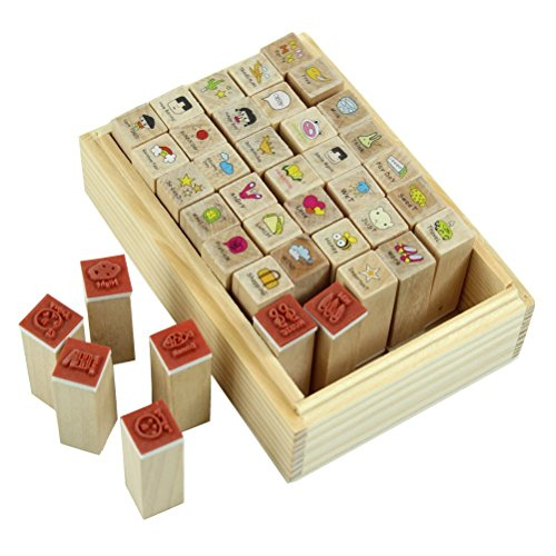 SODIAL(R) 40pcs/set Happy Life Diary Girl Cute Cartoon Mounted Rubber Stamp Wooden Box