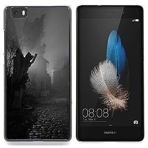 GIFT CHOICE / Teléfono Estuche protector Duro Cáscara Funda Cubierta Caso / Hard Case for Huawei Ascend P8 Lite (Not for Normal P8) // Statue Cobblestone Black White //