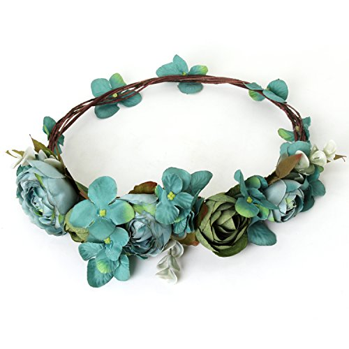 Lilac Goddess Costume (Turquoise Flower Wreath Headband Crown Boho Floral Garland for Festival Wedding)