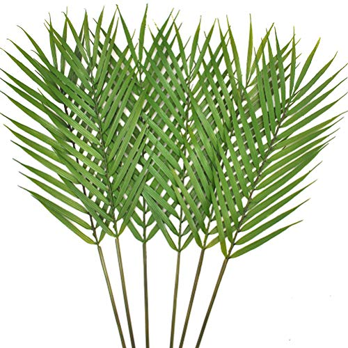 - Warmter 6 Pcs Faux Palm Leaves Palm Fronds Artificial Tropical Palm Leaves Palm Leaf for Home Wedding Palm Sunday Hawaiian Leaves Decorations 23.8