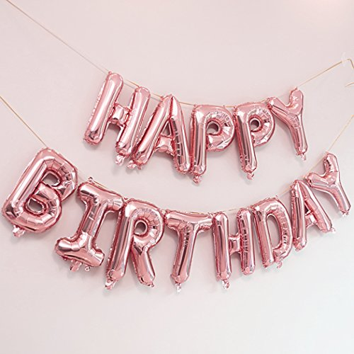 Happy Birthday Balloons Banner,Outgeek Foil Balloons Letters Balloons Mylar Balloons for Birthday Party Decoration