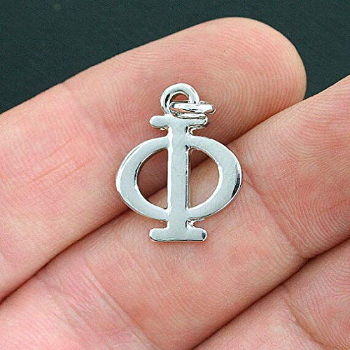 Phi Charm Keychain - 4 Phi Greek Letter Charms Antique Silver Tone - SC4035