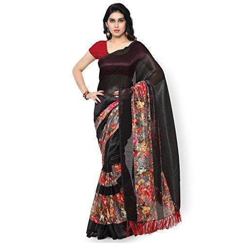 Rajnandini-Womens-Tussar-Silk-Floral-Printed-SareeJOPLNB3008BlackFree-Size