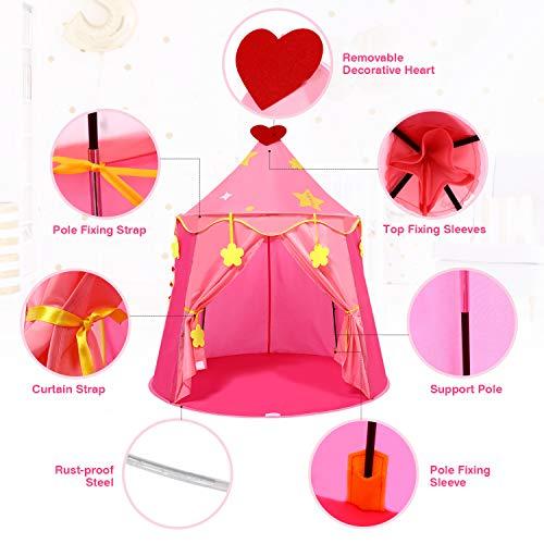 Peradix Château de Princesse Tente pour Enfant et Bebe, Tente d\'enfants pour Princess Filles avec Balls,Tente Masison de Cabane pour Enfant Intérieure et Extérieur(Rose)
