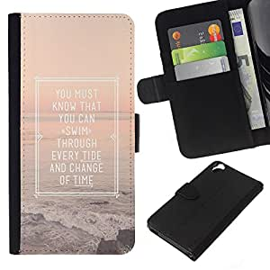 KingStore / Leather Etui en cuir / HTC Desire 820 / Cartel Inspiring Summer Sunset Mar Océano