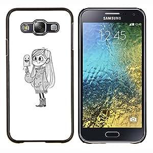 Dragon Case - FOR Samsung Galaxy E5 E500 - cute girl bird white kids drawing pencil - Caja protectora de pl??stico duro de la cubierta Dise?¡Ào Slim Fit
