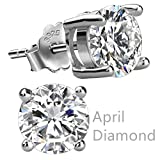 Feramox Sterling Silver Round Cubic Zirconia Diamond Birthstone Stud Earrings for Women April