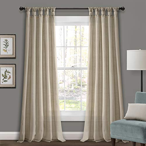Lush Decor Burlap Knotted Tab Top Window Curtain Panel Pair, 84
