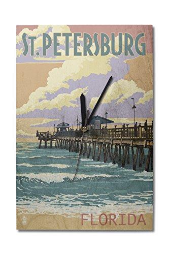 Lantern Press St Petersburg, Florida - Pier and Sunset (10x15 Wood Wall Clock, Decor Ready to Hang)