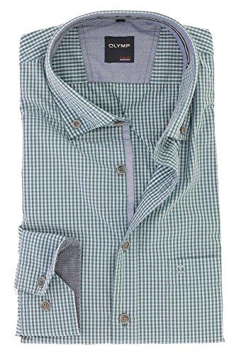 OLYMP Herren Casual Freizeithemd für Oktoberfest Langarm mit Button Down Kargen Comfort Stretch 100% Baumwolle Gr.L Grün Kariert
